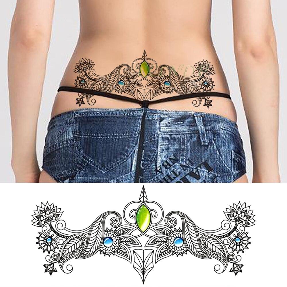 Tatuaje temporal a prueba de agua pegatina diamante cristal tamaño grande Tatuaje falso Henna en pecho cintura Flash Tatto para mujer chica