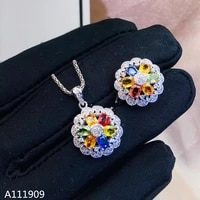 kjjeaxcmy boutique jewelry 925 sterling silver inlaid natural color sapphire ring necklace pendant ladies suit support detection