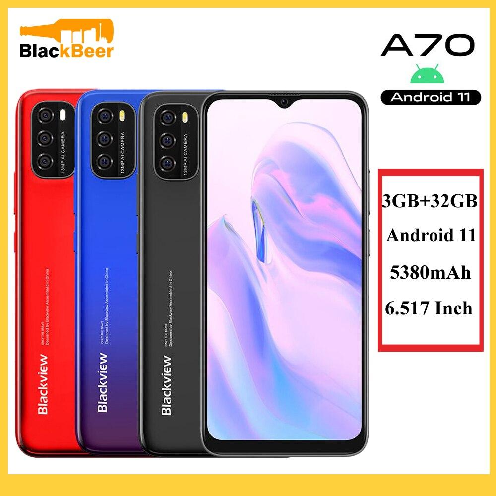 Blackview A70 6,5 дюймовый смартфон 4G Android 11, четыре ядра, мобильный телефон, 3 Гб оперативной памяти, 32 Гб встроенной памяти, сотовый телефон 13MP задни...