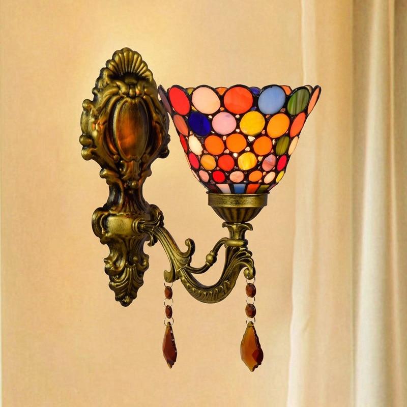 Faros de cristal de colores estilo bohemio estilo europeo-estilo americano Pastoral lámpara de pared para cabecera pasillo balcón lámpara de pared