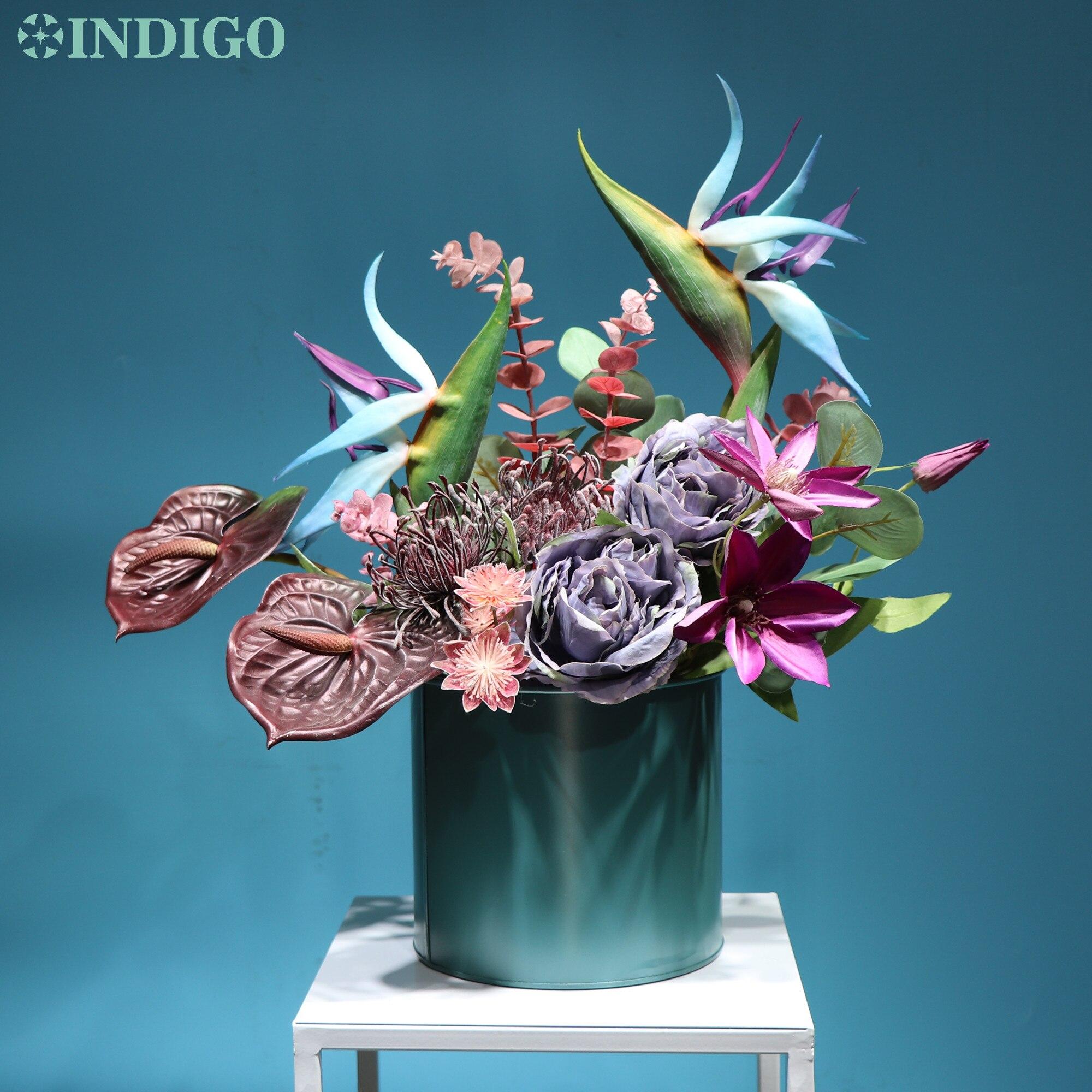 Pájaro azul índigo del paraíso (1 Juego con jarrón de Metal), flor de Calla, bonsái, decoración de oficina, flor comercial