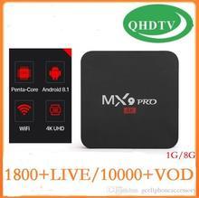 1 an QHDTV France belgique MX9Pro 1G + 8G Android 8.1 1G + 8G belgique pays-bas arabe France belgique boîte française