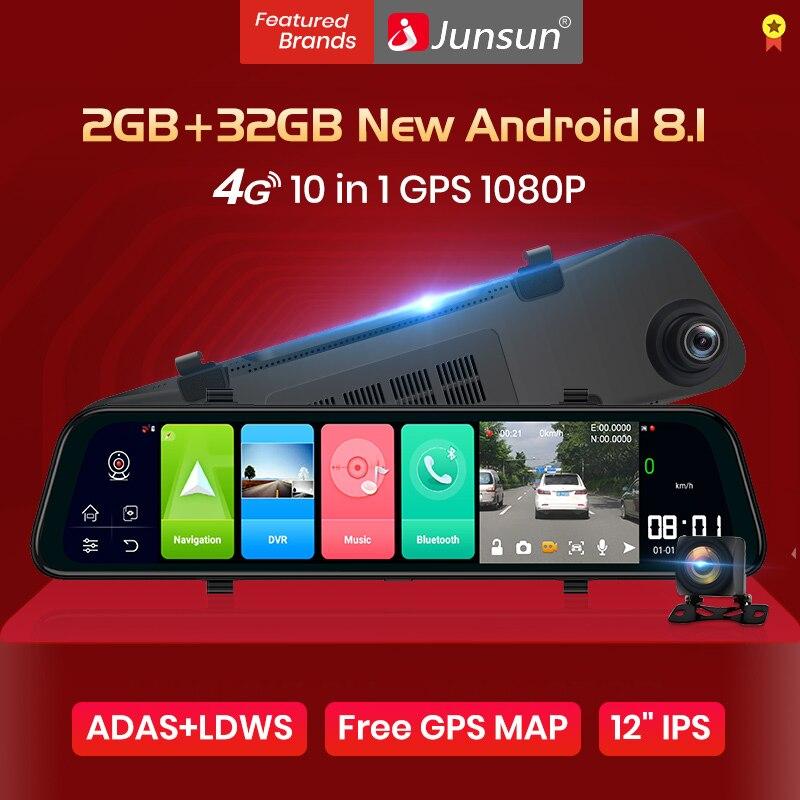 "Junsun 12"" 1440P 2k Car Mirror Camera Android 8.1 ADAS 2G RAM 4G wifi GPS Navi Night Vision auto Video Recorder DVRs Registrar"