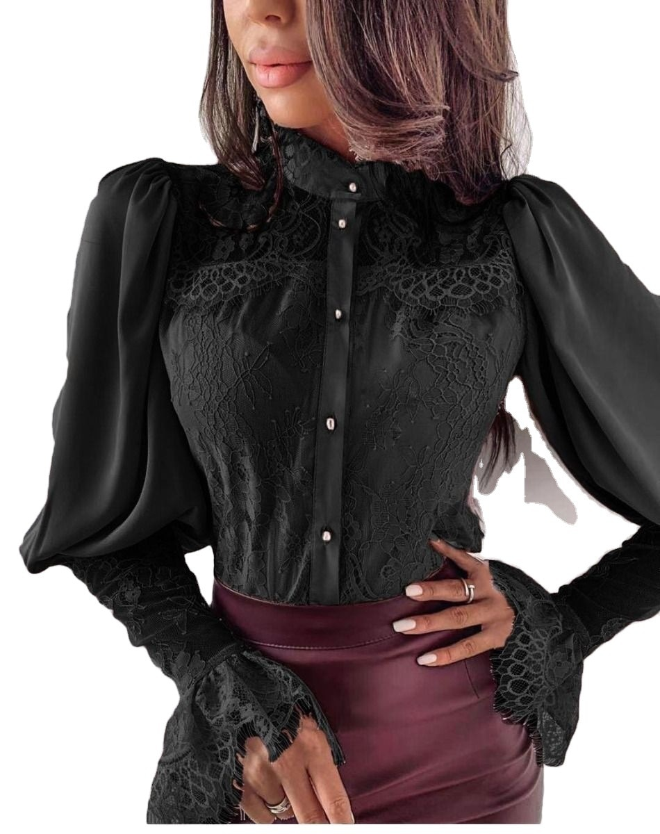 Women French Lace Palace Style Long Sleeve Top Sexy Office Collar Button See Through Shirt Slim Casual Shirt Corset Top Blouse h top calella palace
