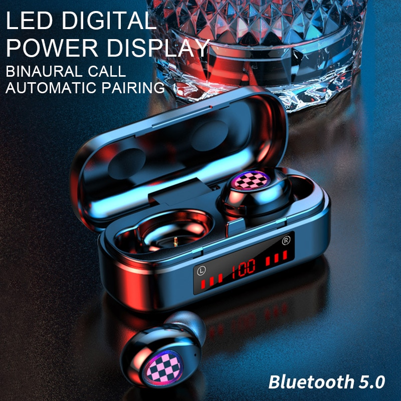 Bluetooth 5.0 headset TWS wireless earphone LED touch earbuds sports waterproof earphone headphones