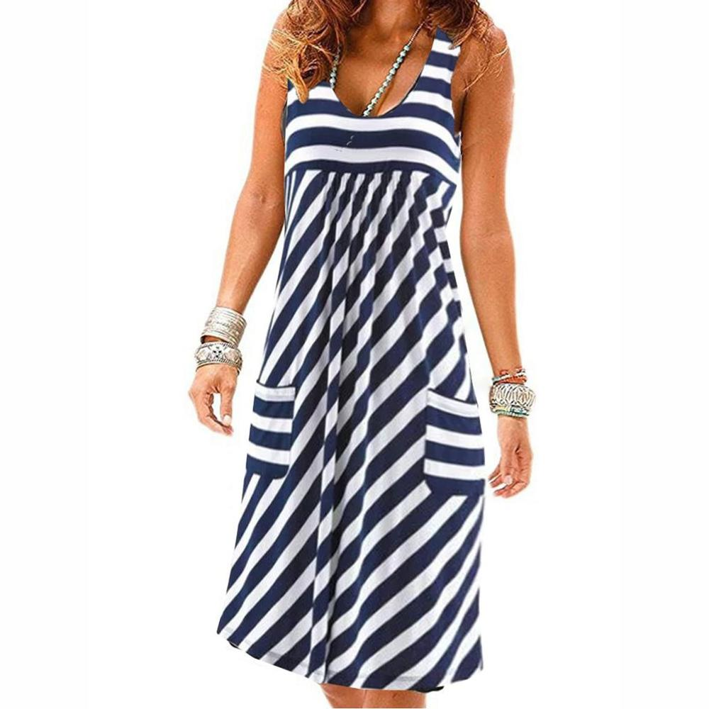 scoop neck sleeveless striped loose fitting dress for women Fashion striped dress large size summer dress  loose simple sleeveless dress women's clothing