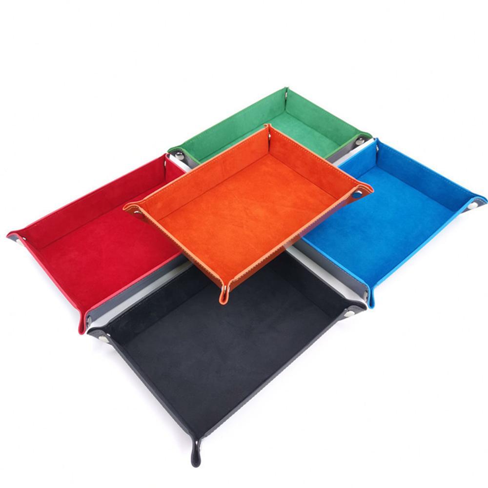 Bandejas de dados rectangulares de cuero PU caja de almacenamiento plegable para juegos de mesa monedero clave caja de monedas de escritorio varias bandejas decorativas
