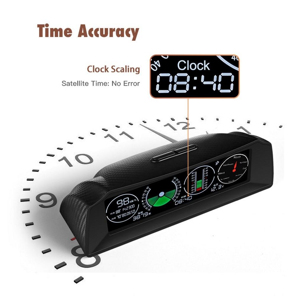 GPS Escort velocímetro inclinómetro coche HUD automotriz inclinación ángulo Protractor Latitud Longitud brújula inteligente
