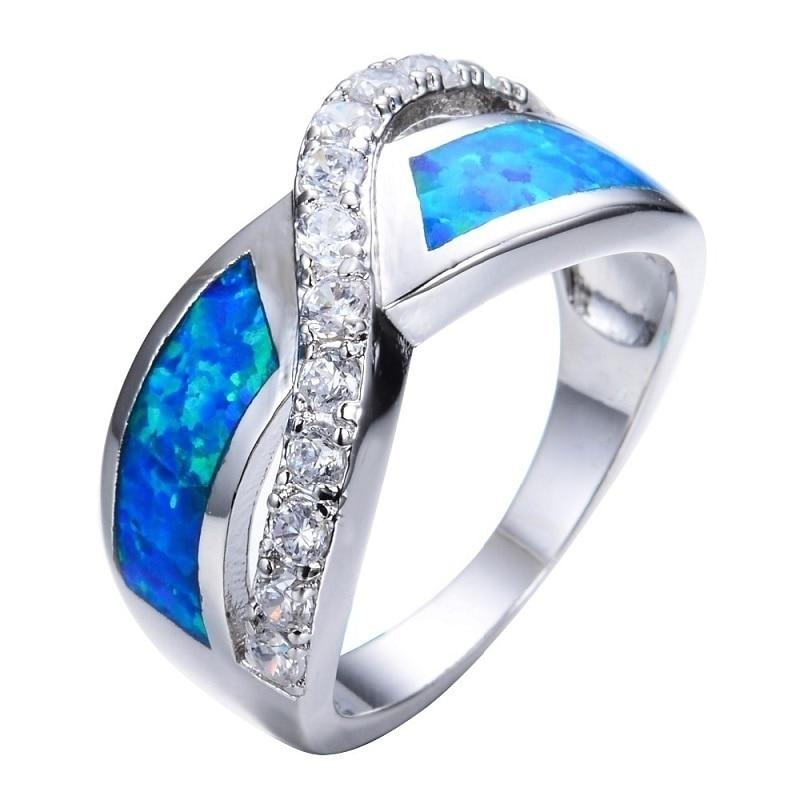 Simples strass zircão anel feminino vintage azul imitação de fogo opala anel jóias festa de casamento presente
