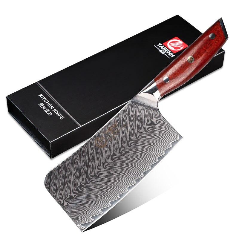 YARENH-سكين تقطيع العظام دمشق ، أداة تقطيع العظام الصينية ، 67 طبقة من الفولاذ المقاوم للصدأ عالي الكربون ، 7 بوصات