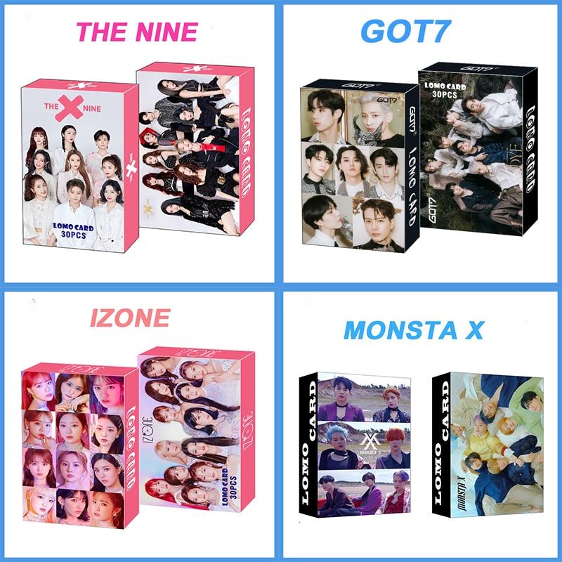 30pcs/set Kpop GOT7 Monsta X IZONE THE NINE TREASURE Lomo Cards photocards HD Photo album K-pop cards