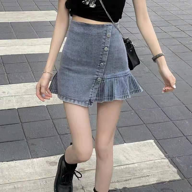 Pleated Skirt, Irregular A-line Skirt, Denim Skirt, High Waist, Thin Short Skirt, New Style Skirt, Women's Asymmetric Skirt 2020 new korean style elegant split embroidered a line denim midi skirt korean harajuku skirt jean skirt denim skirt