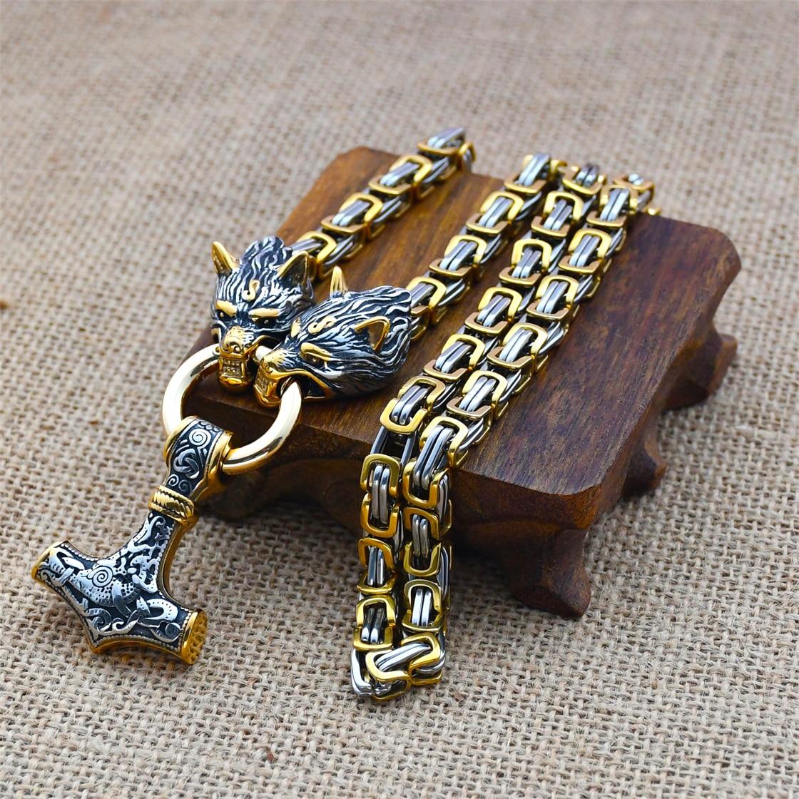 Nordic Celtic Wolf Men's Necklace Viking Wolf Head Stainless Steel Pendant Scandinavian Rune Accessories Viking Amulet Jewelry