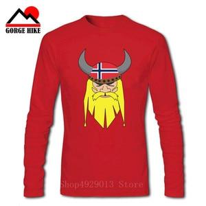 Men ODIN Vikings Valhalla T Shirt Cotton Vintage Long Sleeves Tops Tees Norwegian T-Shirts Plus Size Norway flag Design Clothing