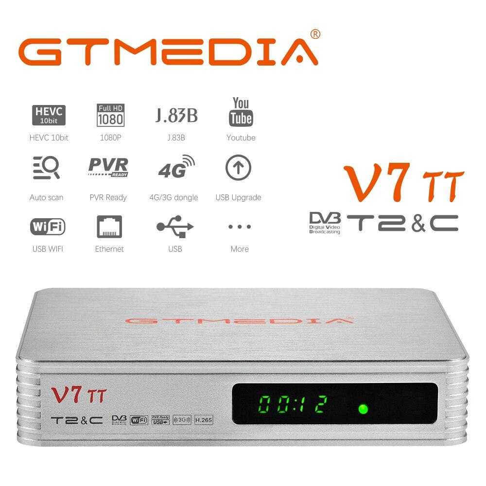 GTMEDIA-receptor de televisión terrestre V7TT, decodificador de Cable DVB-T/T2 H.265 HEVC, sintonizador...