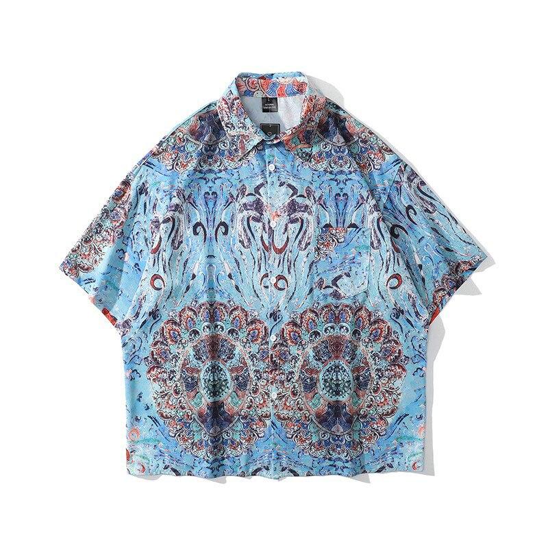 Рубашка S84 мужская с короткими рукавами, тонкая модная блуза свободного покроя в китайском этническом стиле, с цветами, лето 2021