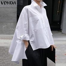 VONDA Women Tunic Lapel Neck Shirts Party Tops 2020 Spring Summer Beach Tops Female Asymmetrical Blouse Casual Blusa Plus Size