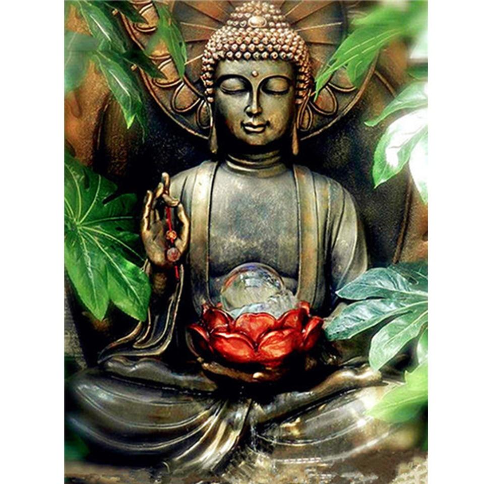 5D DIY diamante pintura Buda cuadrado completo/redondo diamante bordado religión paisaje mosaico Diamante de imitación para decoración bordada con aguja