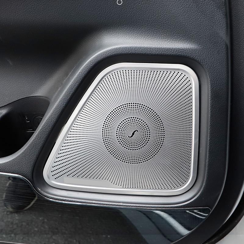 For Mitsubishi Outlander 2012-2019 Car Door Loudspeaker Sound Chrome Pad Speaker Cover Trim Frame Sticker Interior Accessories