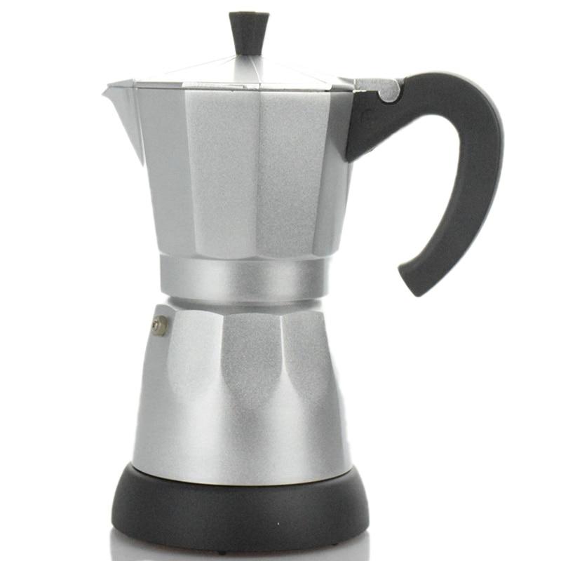 6 Cups/300Ml Electric Coffee Maker Aluminum Material Coffee Pots Moka Pot Mocha Coffee Machine Coffee Filter Espresso Maker EU P