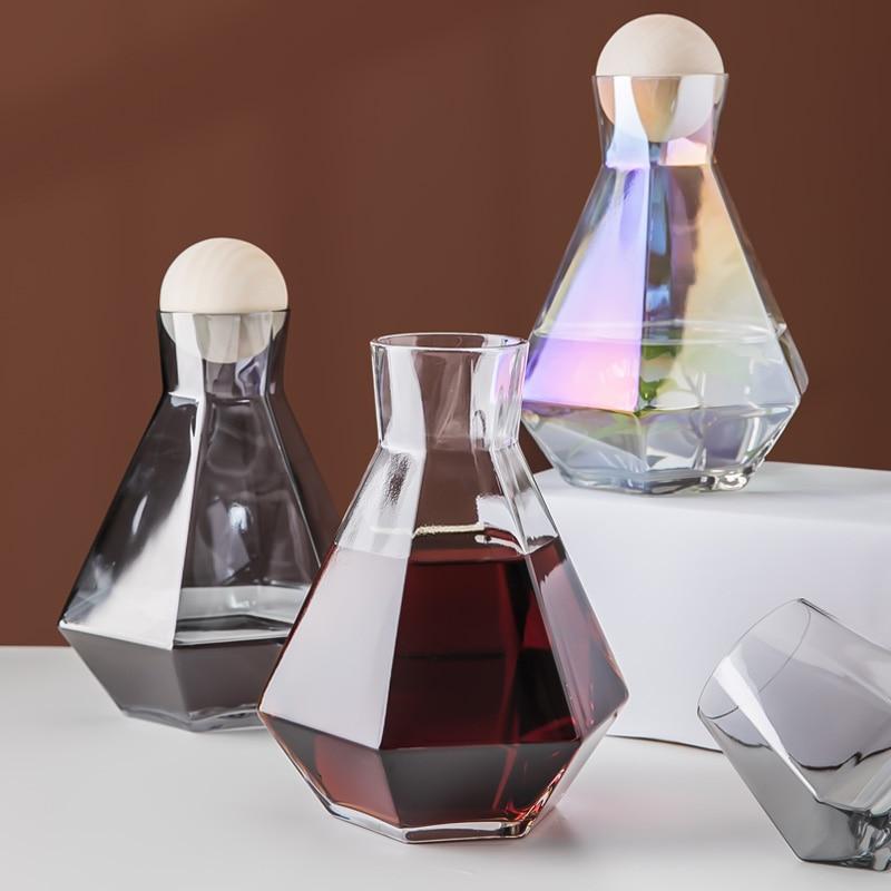 Jarra de agua de diamantes de estilo nórdico creativa con jarra de vidrio de color ámbar gris, jarra de agua, leche, vino