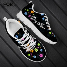 FORUDESIGNS Dog Paw Printed Fashion Women's Shoes Flats Casual Sneakers Summer Female Air Mesh Comfo