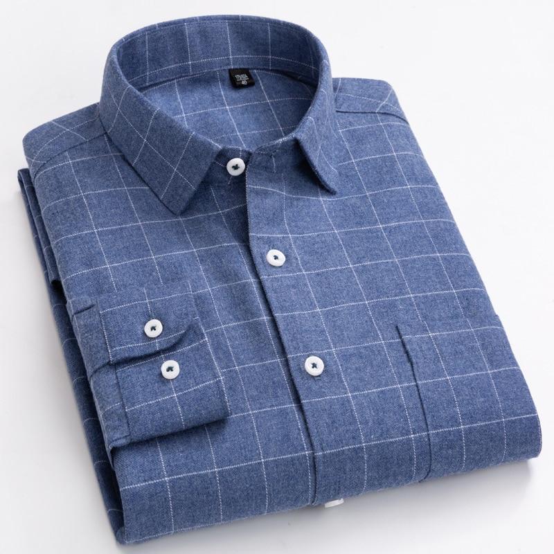 Camisas manga larga con a cuadros de cepillado para hombre, camisas de bolsillo tipo parche de algodón suave y cómodo, camisa gruesa informal de ajuste estándar