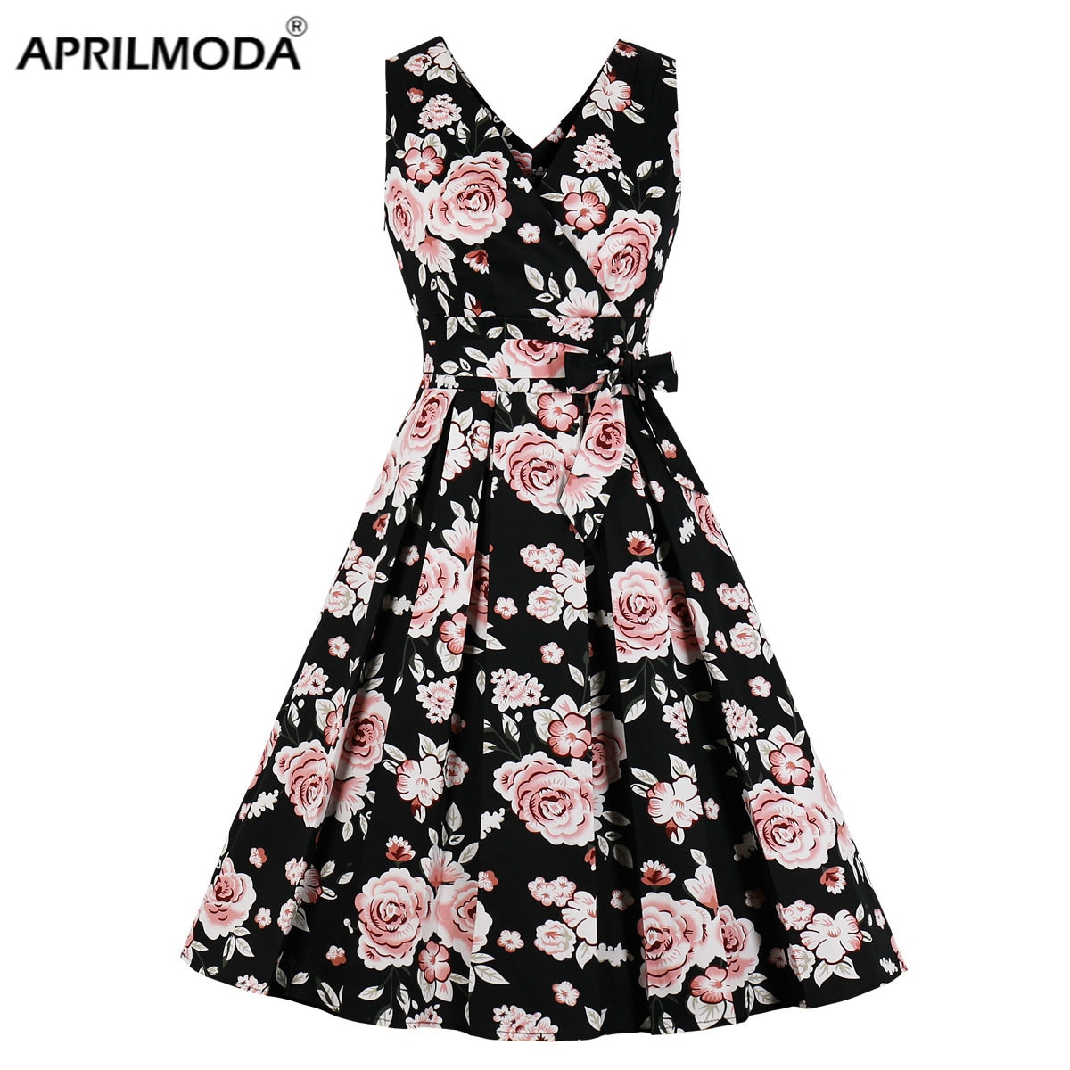 50s Vintage Pin Up vestido Midi Floral impreso Casual traje mujeres Femme de verano sin mangas una línea elegante Rocakbilly Vestidos
