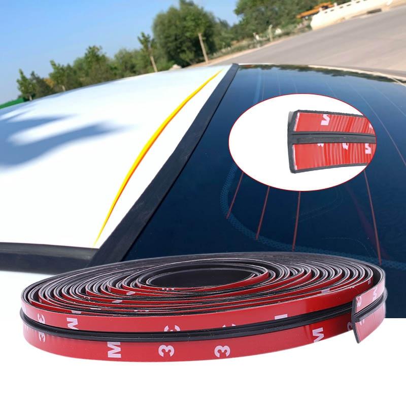 4M Estilo de coche sello tiras T-tipo Auto protector de sello pegatinas de borde de la ventana frente parabrisas trasero techo de goma de tiras