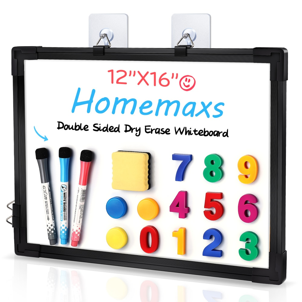Homemaxs 12 x 16 in Hanging Dry Erase Board Double Sided White Board Wall Mount Message Board Reminder for School Home Office (B