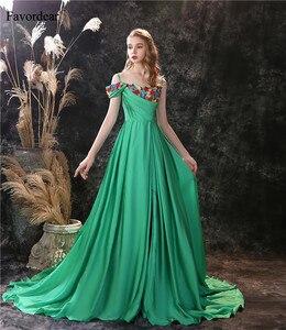 Favordear Elegant Spaghetti Strap Embroidery Flower Evening Dress for Women Vestido De Noite Stain Chiffon Formal Party Gown