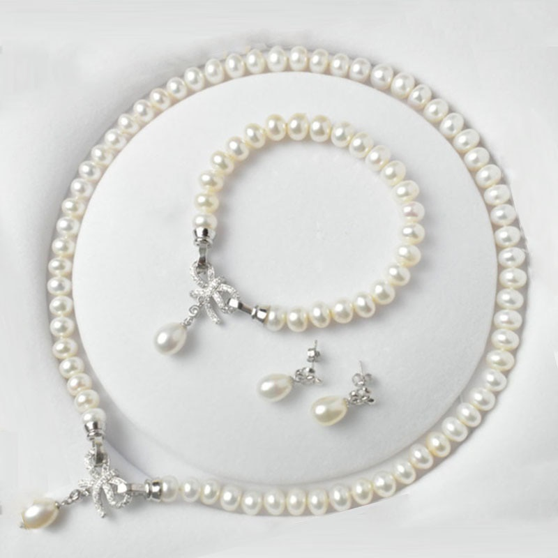 AliExpress - Classic Pearl Jewelry Sets Genuine Natural Freshwater Pearl Jewelry 925 Sterling Silver Earrings Bracelet Necklace For Women
