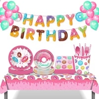 sweet donuts theme party decorations sets plates napkins cups disposable tableware kids baby shower happy birthday party favors