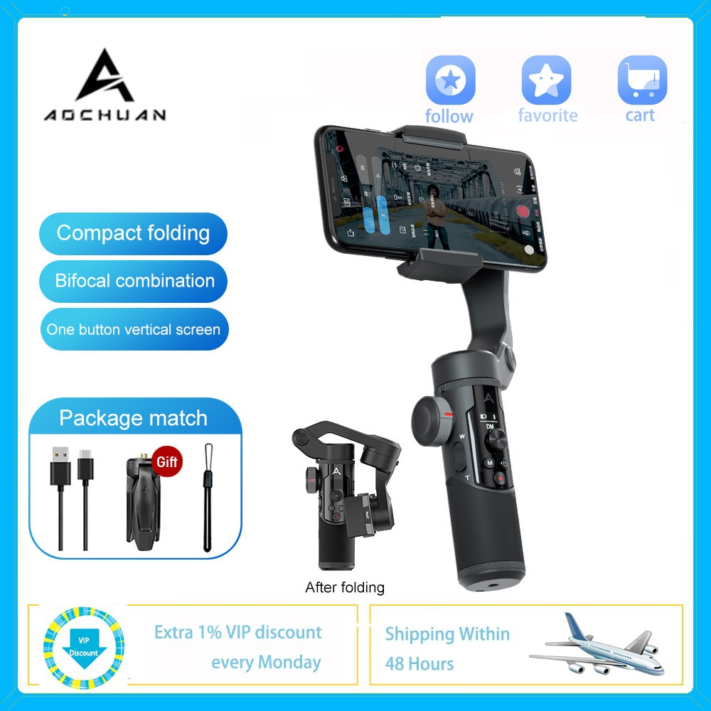 AOCHUAN Smartphone Tripod Selfie Stick SMART XR S1 3-Axis Handheld Gimbal Stabilizer Bluetooth for IOS Android With Phone Clip