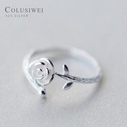 Colusiwei authentic 925 prata esterlina bonito rosa com folhas anel para as mulheres aberto ajustável anéis de dedo fino jóias presente