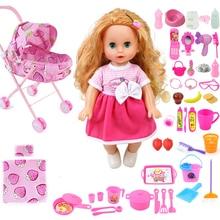 35cm Bebe reborn mädchen reden puppe mit rosa Kinderwagen Infant warenkorb kinder Kindergarten Spielzeug reborn Baby Geschenke können trinken pee