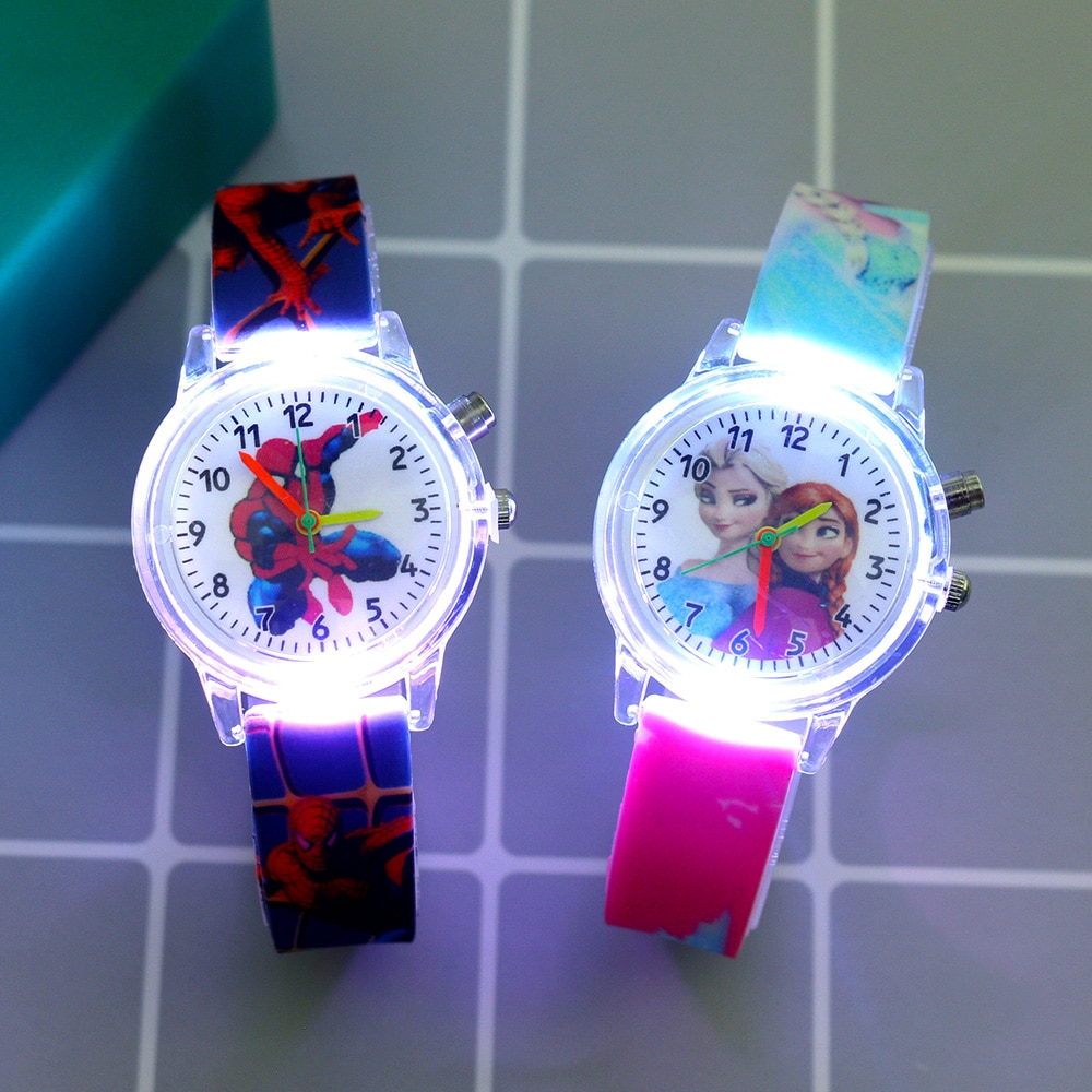 New Super Hero Cartoon Flash Light Kids Watches for Girls Boys Rubber Strap Cute Princess Children W