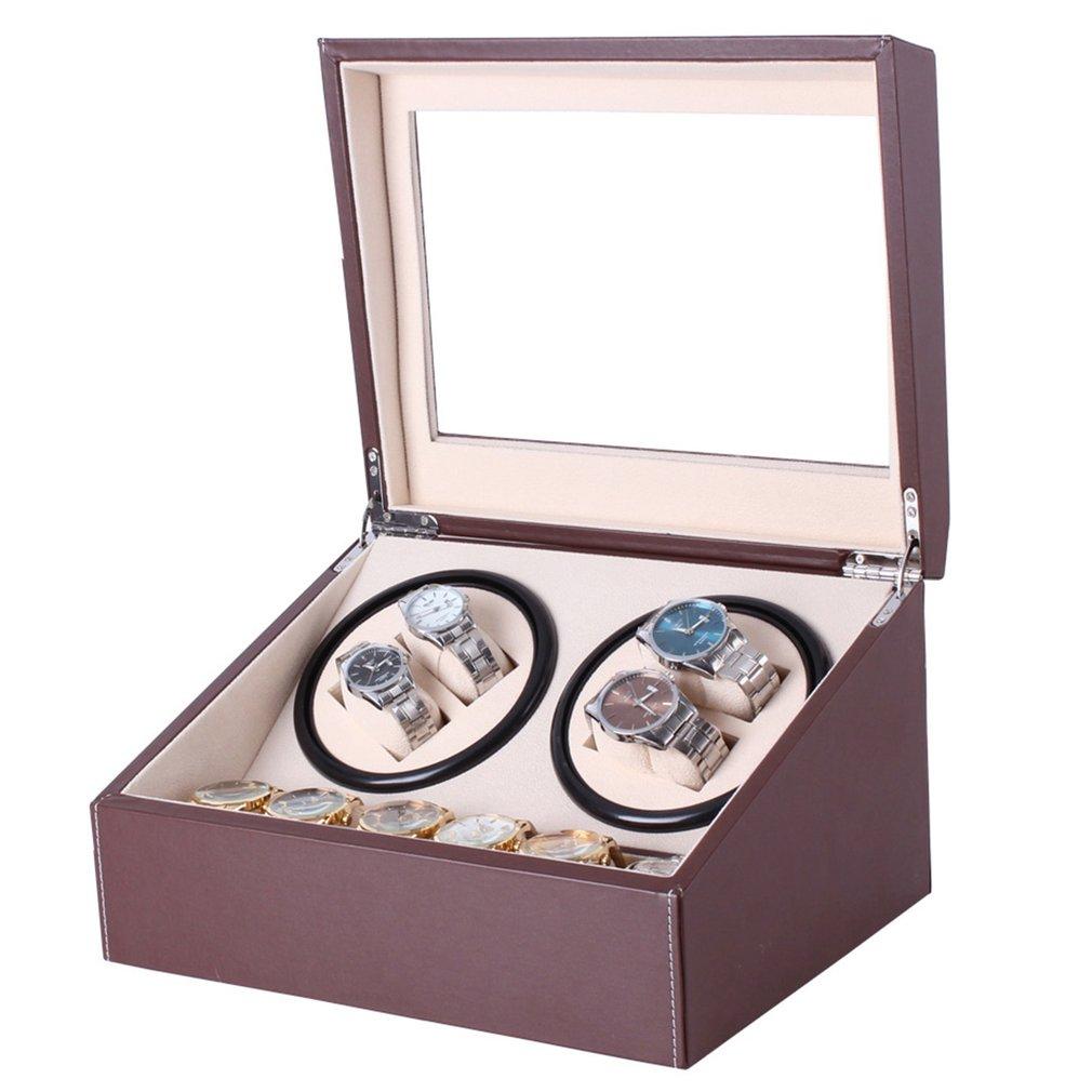Caja enrolladora automática para reloj de cuero PU con enchufe de EE. UU., colección de cajas de almacenamiento con cabezal Doblue
