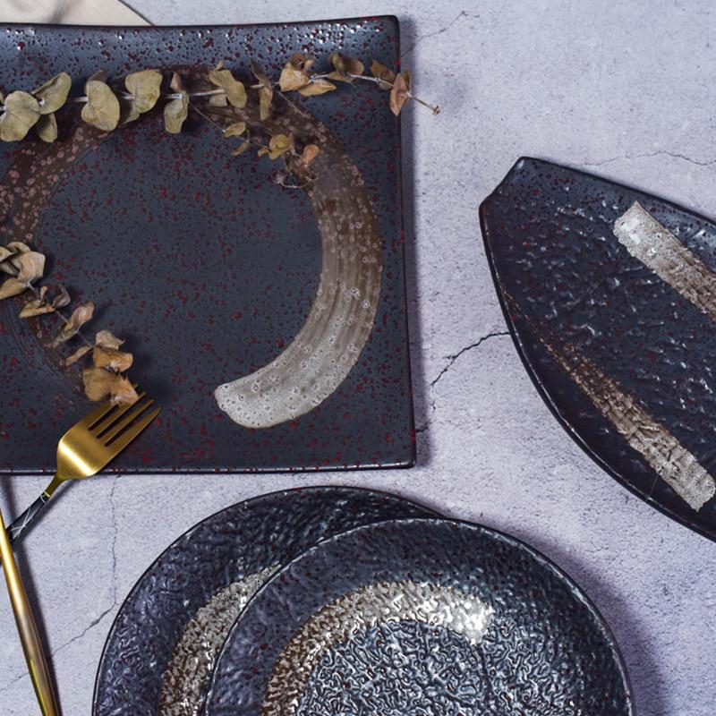 الرجعية الذهب الأسود سيراميك مصقول لوحات الإبداعية فندق المنزل مطعم المعكرونة الفاكهة والخضروات سلطة الحلوى أطباق السيراميك