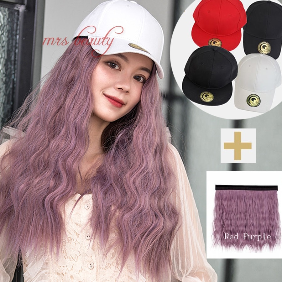 Removabl Hat Wig Hat Hair Extension Corn Hot Synthetic Hair kinky Long Curly Hair Headgear Fluffy Whole Wig  Female Wearing