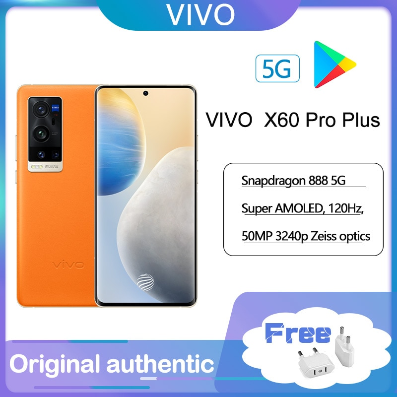 Original VIVO X60 Pro Plus 5G android SmartPhone, 6.56 Inch AMOLED 120Hz Zeiss optics Snapdragon 888 Android 11 Cellphone