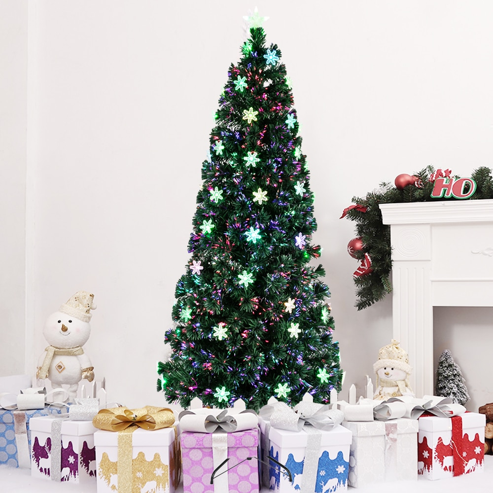7FT Small Light Fiber Optic Christmas Tree 290 Branches Contains 58 Acrylic Snowflakes (115 x 20 x 20)cm Christmas Decoration