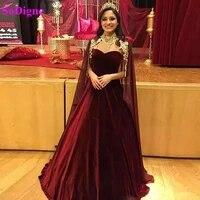 sodigne saudi arabic evening dresses with cape a line burgundy velvet formal evening gown dubai prom party dresses