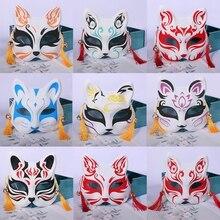 อะนิเมะปีศาจจิ้งจอกหน้ากากมือวาดญี่ปุ่น Mask หน้ากากใบหน้าครึ่งเทศกาล Ball Kabuki Kitsune หน้ากาก Cosplay Prop