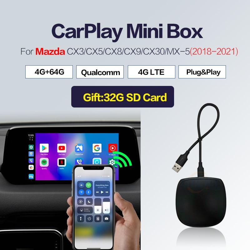 Автомобильный умный Carplay Android Box, автомобильный мультимедийный проигрыватель с ИИ 9,0 Box, беспроводной автомобильный apple Mini 4 + 64 ГБ для Mazda CX3 CX5 ...