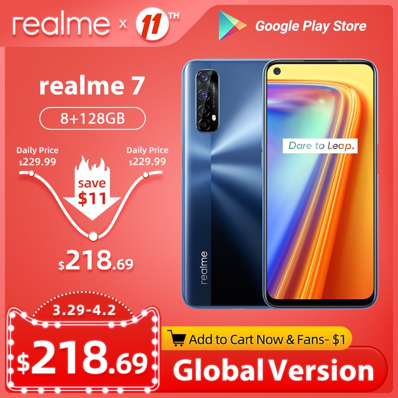 Realme 7 Global Version Smartphones 8GB RAM 128GB ROM 30W Fast Charge 48MP Quad Cameras Helio G95 5000mAh Battery Gaming Phone