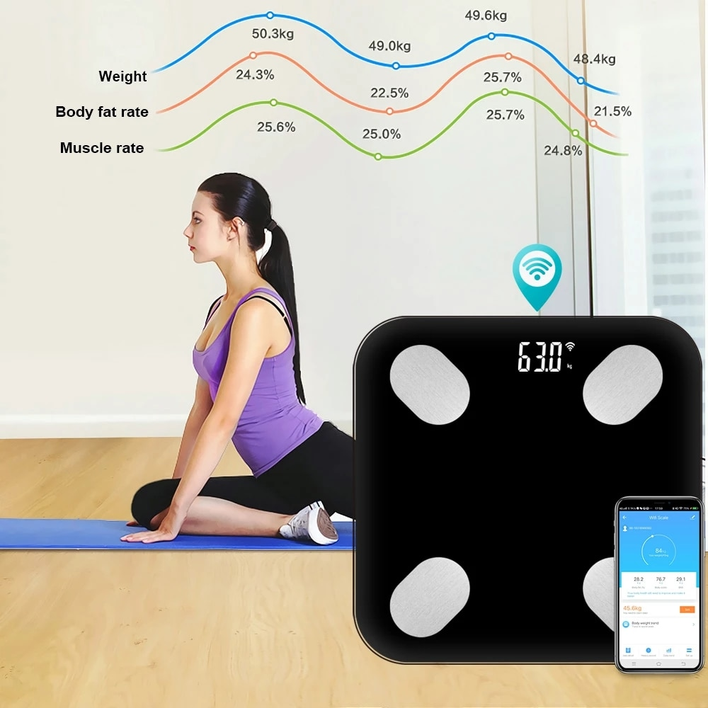 Tuya Smart WiFi Scale Home Life Accurate Electronic Digital Weight Scales Body Fat/Muscle/Visceral Fat Weighing Scale enlarge