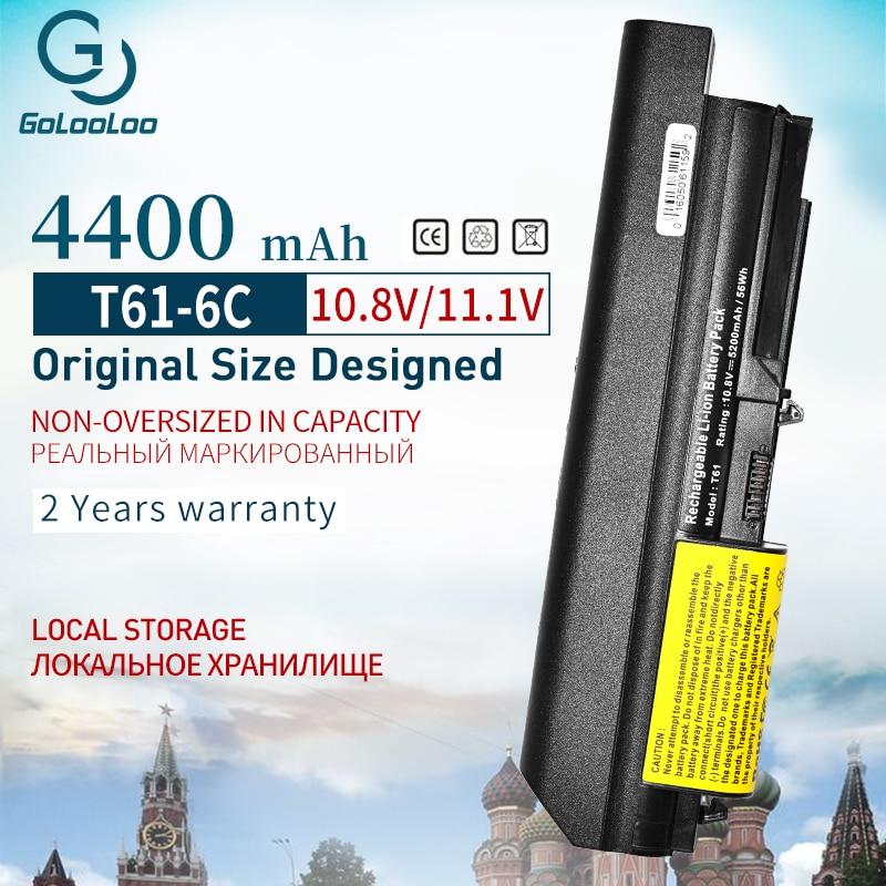 Golooloo 10.8V Nieuwe 6 Cellen Laptop Batterij Voor Lenovo Thinkpad R61 T61 R61i R61e R400 T400 Serie (14-Inch Breed) gratis Verzending