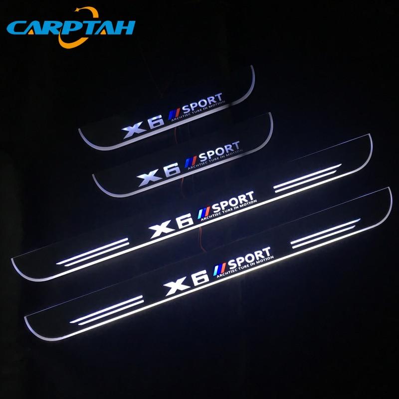 Pedal de bienvenida LED móvil de acrílico de 4 Uds. Para placa de desgaste de coche, Pedal, umbral de puerta, camino ligero para BMW X6 E71 E72 F16 F68 2008 - 2019