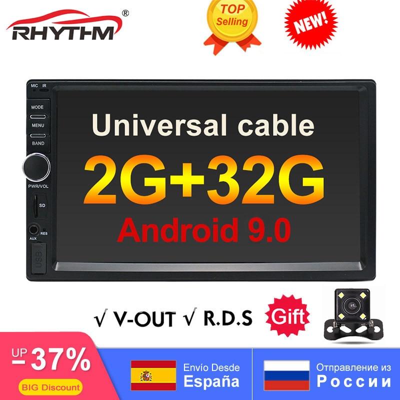 "2din Android 9.0 araba radyo Stereo 2GB + 32GB multimedya evrensel 7 ""1024x600 GPS navigasyon BT WIFI SWC RDS MirrorLink OBD V-OUT"